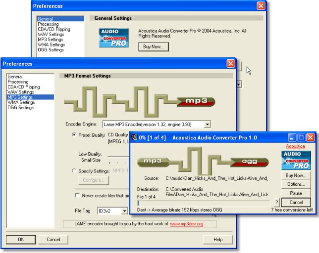 Acoustica MP3 Converter Screenshot