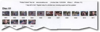 Print photo key list