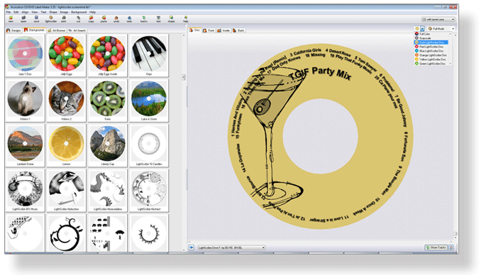 Acoustica CD/DVD Label Maker, easy-to-use LightScribe software with a free trial download