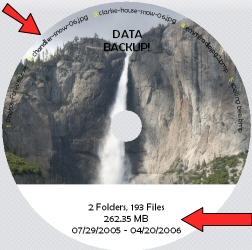 Acoustica CD/DVD Label Maker is getting better all the time...This shows the upper Yosemite falls.  If you haven't been to Yosemite, well, now's the time.
