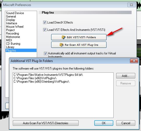 Edit VST/VSTi Folders