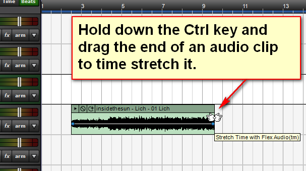 Hold down the Ctrl key and drag the end of an audio clip to time-stretch it.