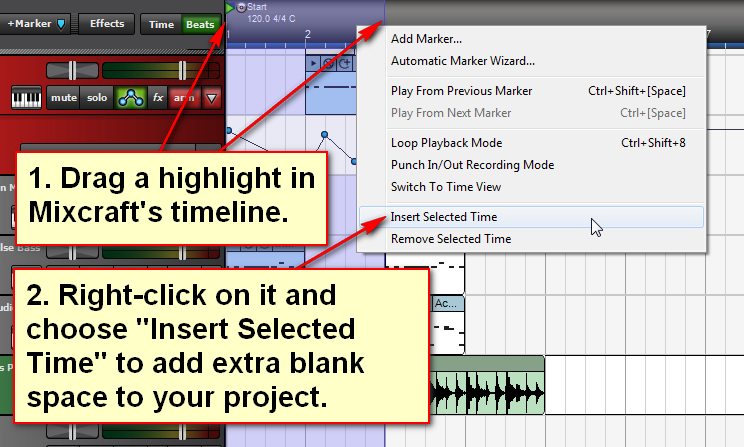 "Drag a highlight in Mixcraft's timeline, then right click on it and select ""Insert Selected Time."""