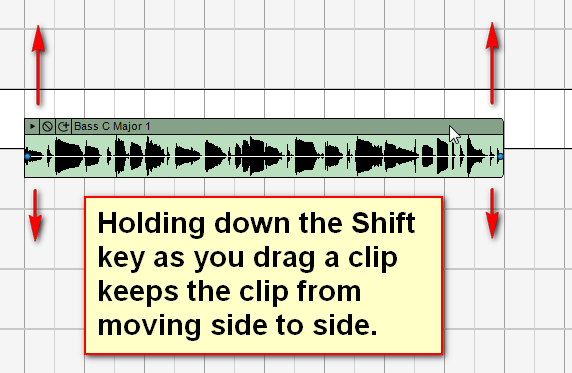 Hold down the shift key when dragging a clip to keep it from moving side to side.