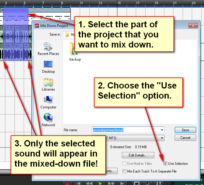 "Choose ""Use Selection"" when you go to mix down to only mix down the selection area."