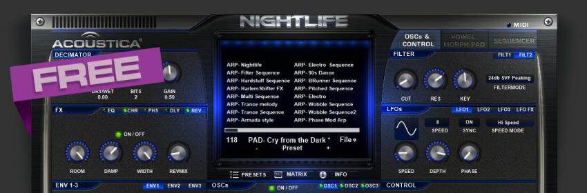 Nightlife,  synthé vsti gratuit